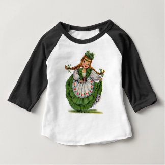 Retro Irish Doll dancer with plaits take a bow Baby T-Shirt