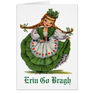 Retro Irish Doll dancer with plaits take a bow Card