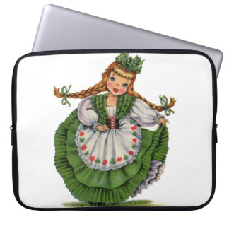 Retro Irish Doll dancer with plaits take a bow Computer Sleeves