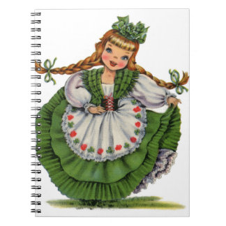 Retro Irish Doll dancer with plaits take a bow Notebook