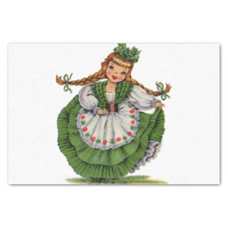 Retro Irish Doll dancer with plaits take a bow Tissue Paper