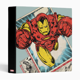 Retro Iron Man Flying Out Of Comic 3 Ring Binders