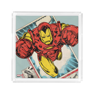Retro Iron Man Flying Out Of Comic Acrylic Tray