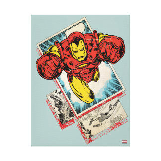 Retro Iron Man Flying Out Of Comic Canvas Print