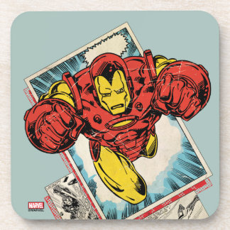 Retro Iron Man Flying Out Of Comic Coaster