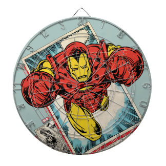 Retro Iron Man Flying Out Of Comic Dartboard