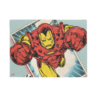 Retro Iron Man Flying Out Of Comic Doormat