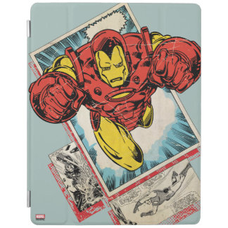 Retro Iron Man Flying Out Of Comic iPad Cover