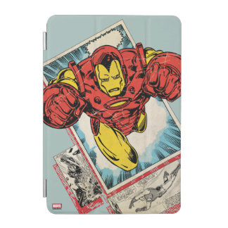 Retro Iron Man Flying Out Of Comic iPad Mini Cover