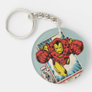 Retro Iron Man Flying Out Of Comic Keychain