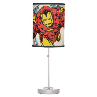 Retro Iron Man Flying Out Of Comic Table Lamp