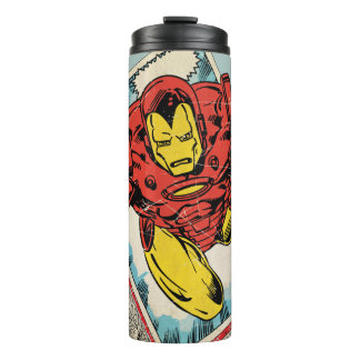 Retro Iron Man Flying Out Of Comic Thermal Tumbler