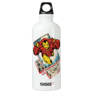 Retro Iron Man Flying Out Of Comic Water Bottle