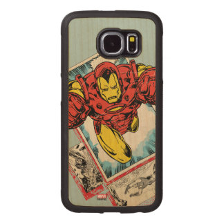 Retro Iron Man Flying Out Of Comic Wood Phone Case