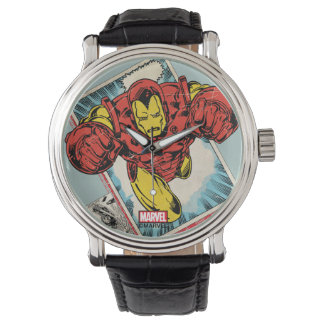 Retro Iron Man Flying Out Of Comic Wristwatch