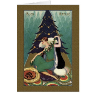 Retro Italian Art Deco Buon Natale Christmas Card
