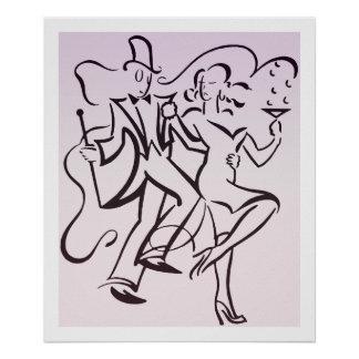 Retro jazz age line art deco couple dancing party poster