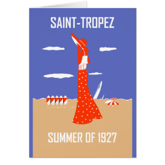 Retro jazz age Saint Tropez Summer beach fashion Card