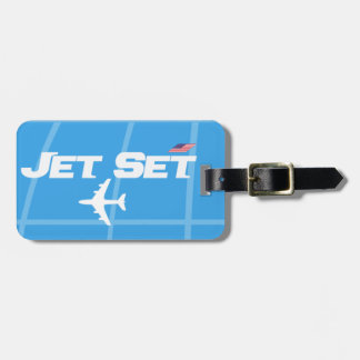 Retro Jet Set Blue Luggage Tag