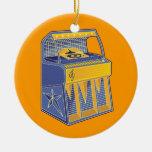 Retro Jukebox Double-Sided Ceramic Round Christmas Ornament