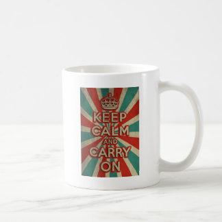 Retro Keep Calm And Carry On Coffee Mug