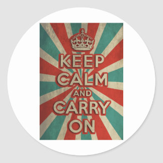 Retro Keep Calm And Carry On Round Stickers