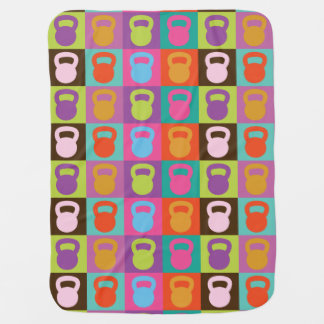 Retro Kettlebell Pattern - Workout And Weight Lift Receiving Blankets