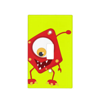 Retro Kids' Colorful Red Monster Light Switch Cover