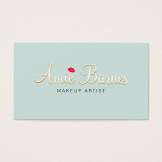 Retro Kissing Lips Makeup Artist Cosmetology Business Card