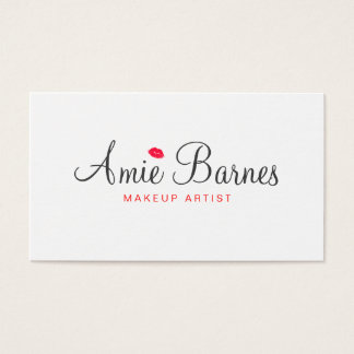 Retro Kissing Lips Makeup Artist White Beauty Business Card