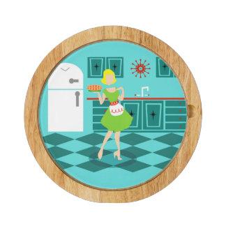 Retro Kitchen Cheese Board Round Cheeseboard