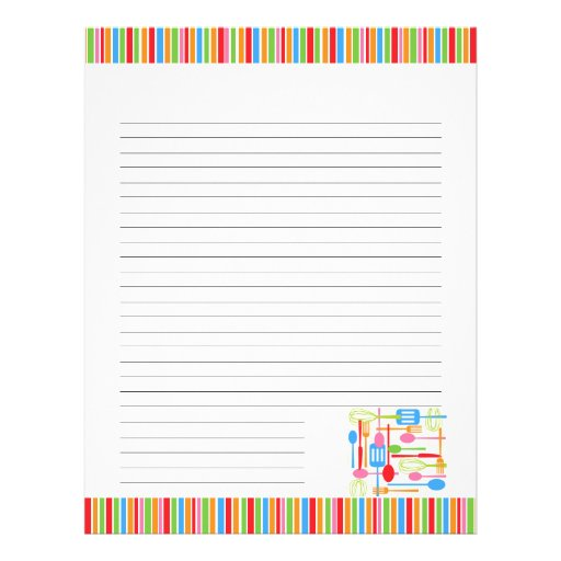 Retro Kitchen Cooking Utensils Blank Recipe Pages Customized Letterhead