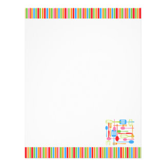 Retro Kitchen Cooking Utensils Blank Recipe Pages Letterhead Template