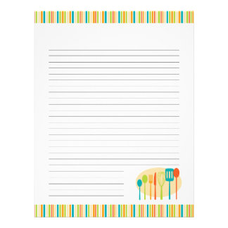 Retro Kitchen Cooking Utensils Recipe Pages Letterhead Design