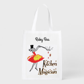 Retro Kitchen Magician Custom Grocery Bag