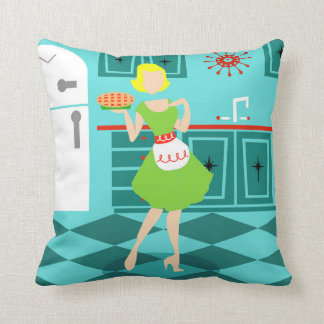 Retro Kitchen Throw Pillow