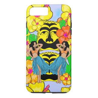Retro kitsch tropical tiki hula girl iPhone case