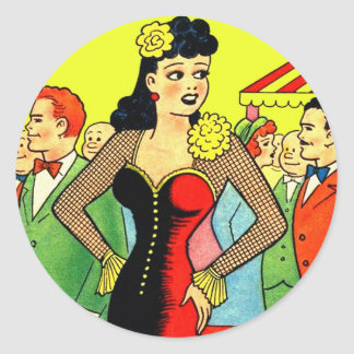 Retro Kitsch Vintage Pin Up Kissing Booth Girl Round Sticker