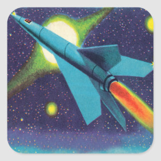Rétro kitsch vintage Rocket à l'espace Sticker Carré