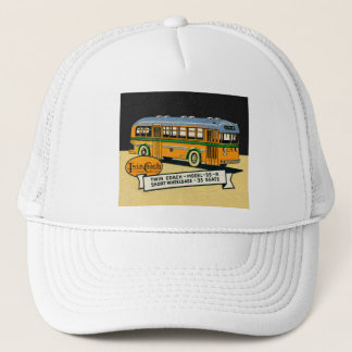 Retro Kitsch Vintage Twin Coach Bus 35-R Trucker Hat