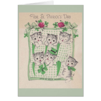 Retro Kittens St. Patrick's Day Greeting Card