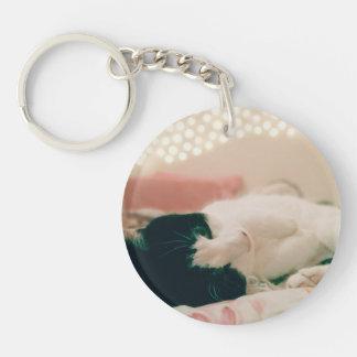 Retro Kitty Round Keyring