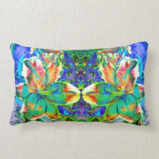Retro kiwi Lily Mandala Lumbar Pillow