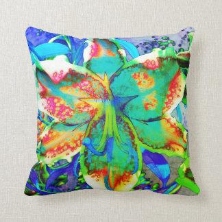 Retro kiwi Lily Throw Pillow