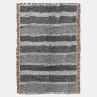 retro knitted black and white stripes pattern throw blanket