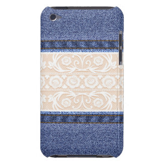 Retro Lace and Denim Texture Barely There iPod Cases