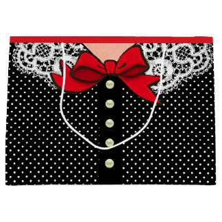 Retro Lady Fashion in Black White and Red Large Gift Bag