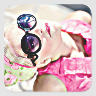 Retro Lady in Pink Vintage Graphics Stickers