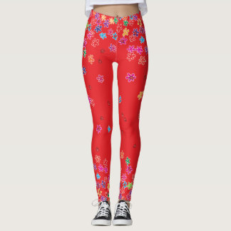 Retro Ladybugs and Flowers Leggings