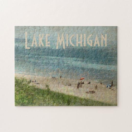 Retro Lake Michigan Shoreline Beach Photo Puzzle